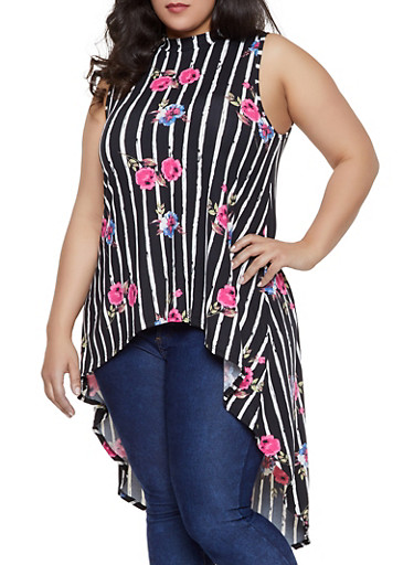 Plus Size Floral Striped High Low Top,BLACK,large