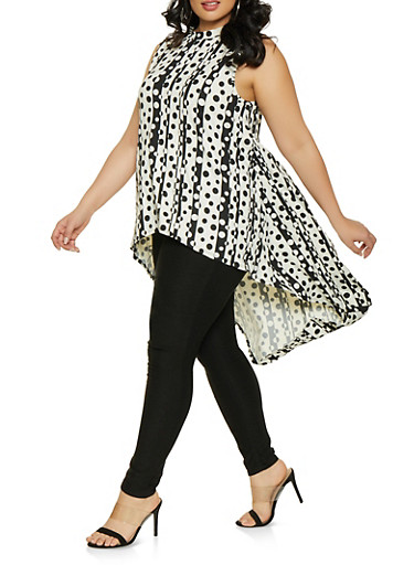 Plus Size Printed High Low Top,IVORY,large