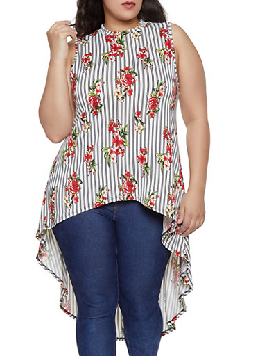 Plus Size Striped Floral High Low Top,BLACK,large