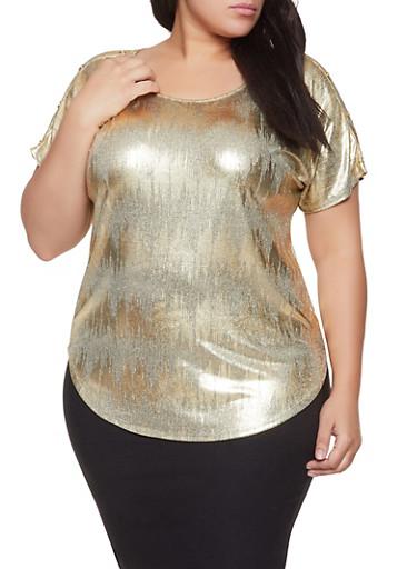 Plus Size Foil Burnout Button Detail Top,GOLD,large