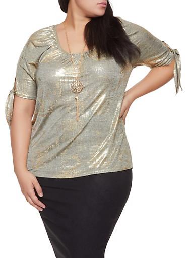 Plus Size Foil Burnout Top with Necklace,GOLD,large