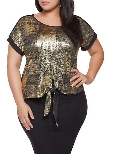 Plus Size Foil Burnout Tie Front Top,GOLD,large