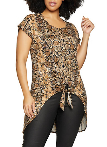 Plus Size Snake Print High Low Top,BROWN,large