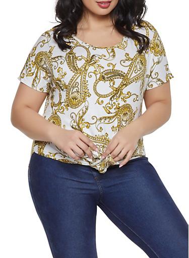 Plus Size Printed Tie Front Top,WHITE,large