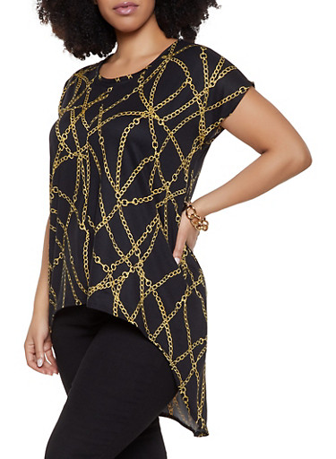 Plus Size Chain Print High Low Top,BLACK,large