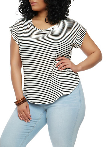 Plus Size Striped Top,BLACK/IVORY,large