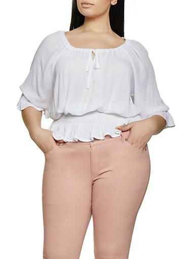 Plus Size Smocked Waist Peasant Top,WHITE,large
