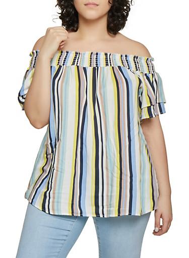 Plus Size Vertical Stripe Off the Shoulder Top,NAVY,large