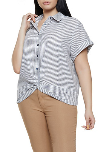 Plus Size Striped Short Sleeve Linen Shirt,WHITE,large