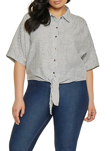 Plus Size Striped Linen Tie Front Shirt,IVORY,large