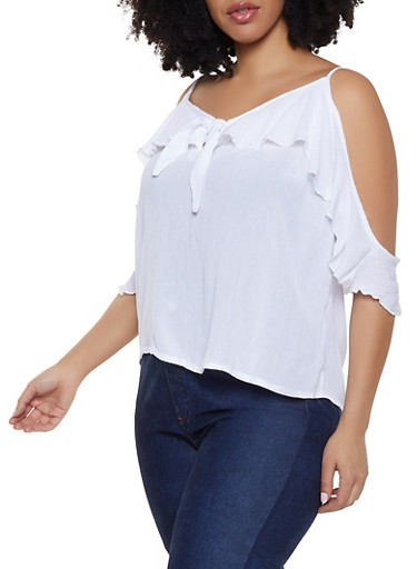 Plus Size Tie Front Ruffled Cold Shoulder Top,WHITE,large