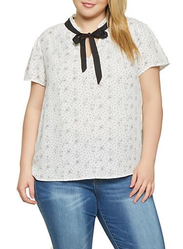 Plus Size Cat Print Blouse,WHITE,large