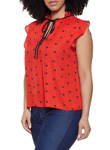 Plus Size Dog Print Blouse,RED,large