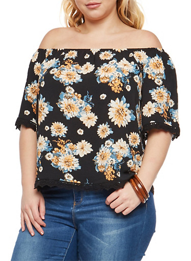 Plus Size Floral Print Off the Shoulder Top,BLACK,large