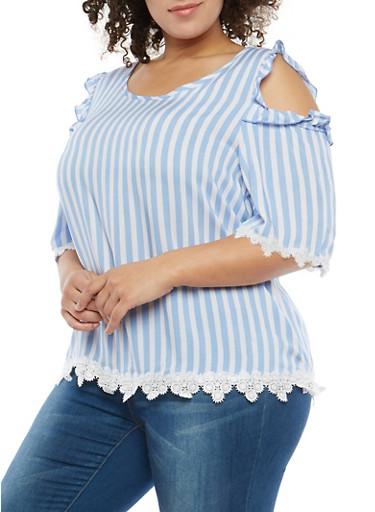 Plus Size Striped Cold Shoulder Top with Crochet Trim,DENIM  WHT,large