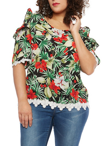 Plus Size Floral Ruffled Cold Shoulder Top,BLACK GREEN,large