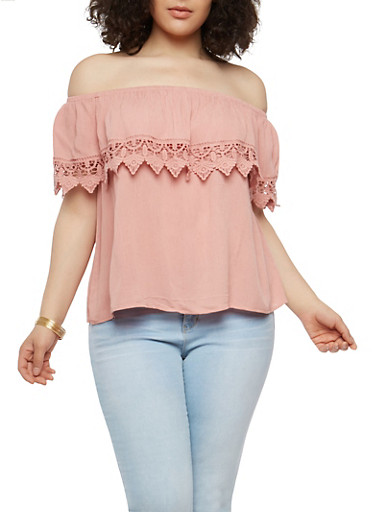 Plus Size Crochet Trim Off the Shoulder Top,MAUVE,large