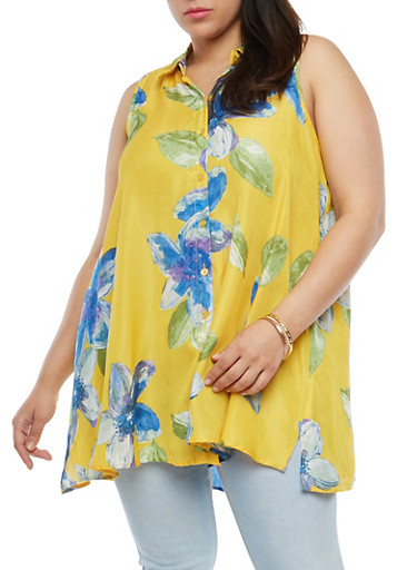 Plus Size Floral Button Front Top,YELLOW,large