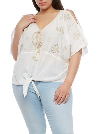 Plus Size Embroidered Cold Shoulder Top,WHITE,large