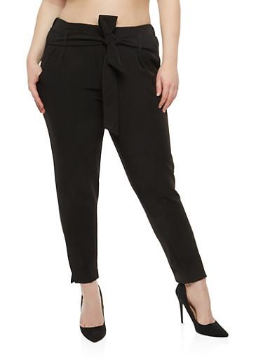 Plus Size Belted Dress Pants,BLACK,large