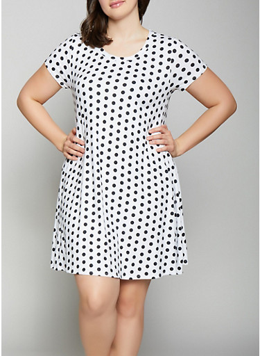 Plus Size Polka Dot Shift Dress,IVORY,large