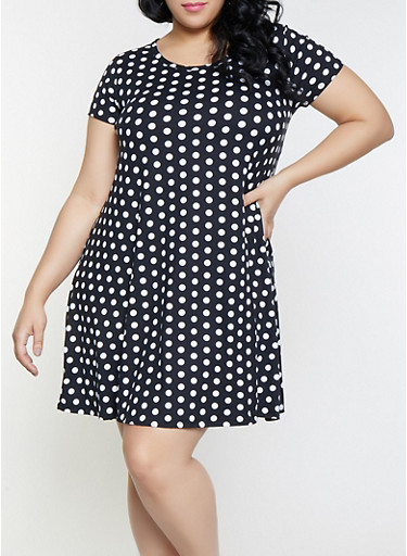 Plus Size Polka Dot Shift Dress,BLACK,large