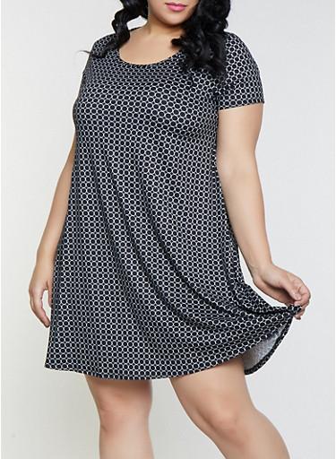 Plus Size Circle Print Shift Dress,BLACK,large