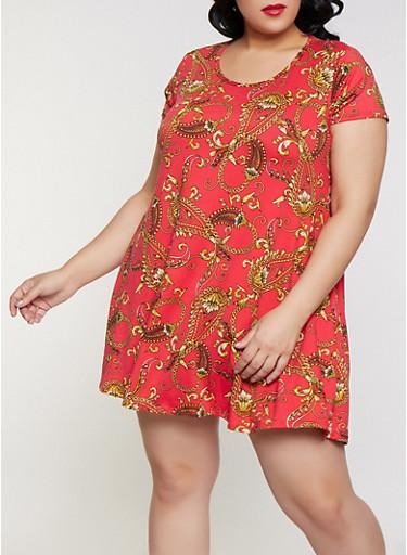 Plus Size Paisley Chain Print Trapeze Dress,FUCHSIA,large