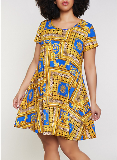 Plus Size Box Print Trapeze Dress,RYL BLUE,large
