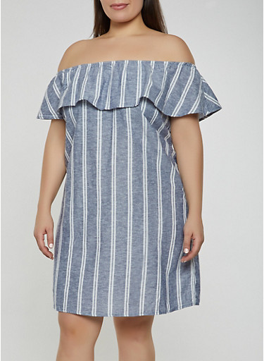 Plus Size Striped Off the Shoulder Shift Dress  | 1822051064029,NAVY,large