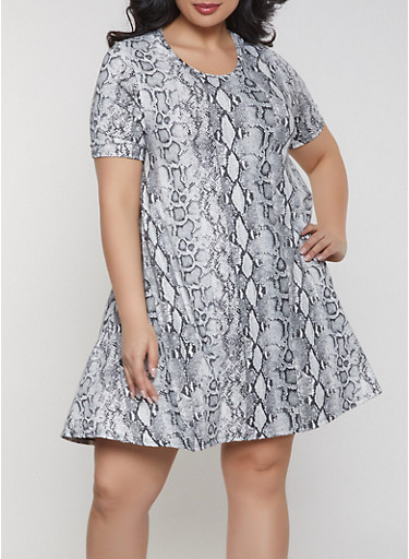 Plus Size Snake Print Dress,GRAY,large