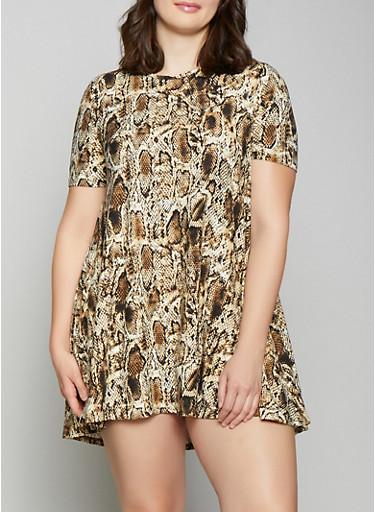Plus Size Animal Print Shift Dress,BLACK,large