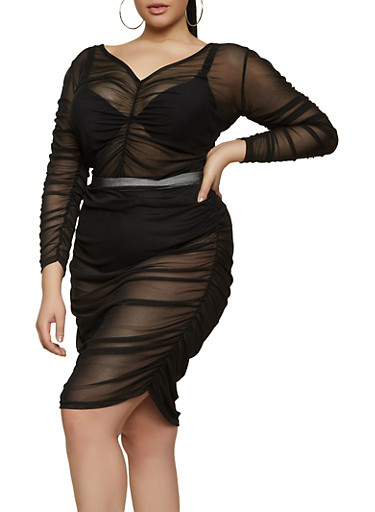 Plus Size Ruched Mesh Top,BLACK,large