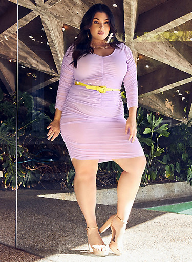 Plus Size Ruched Mesh Top,LAVENDER,large