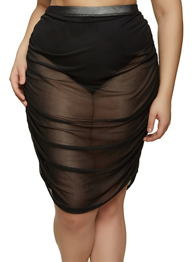 Plus Size Ruched Mesh Pencil Skirt,BLACK,large