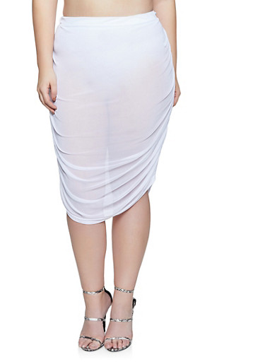 Plus Size Ruched Mesh Pencil Skirt,WHITE,large