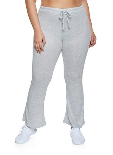 Plus Size Brushed Knit Flared Pants,HEATHER,large