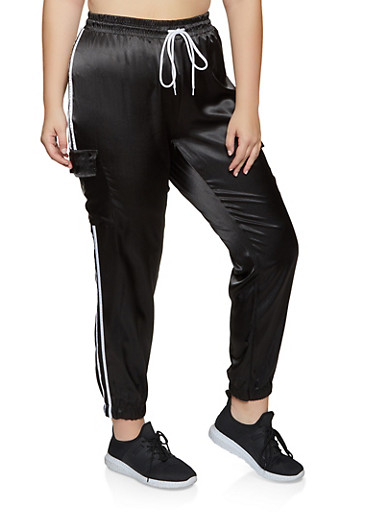 Plus Size Satin Cargo Joggers,BLACK,large