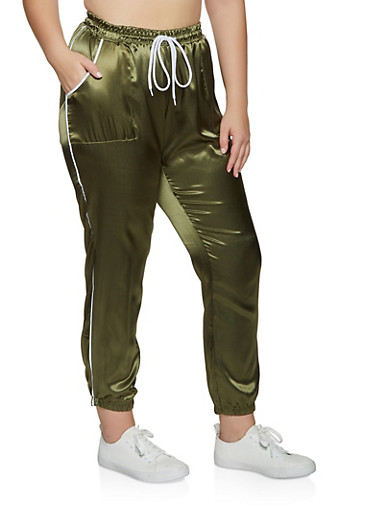 Plus Size Contrast Trim Satin Joggers,OLIVE,large