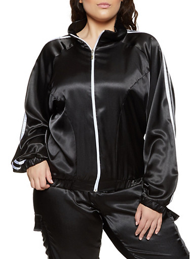 Plus Size Satin Track Jacket,BLACK,large
