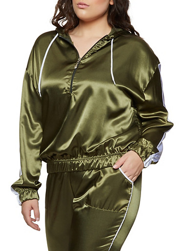 Plus Size Striped Sleeve Satin Hooded Top,OLIVE,large