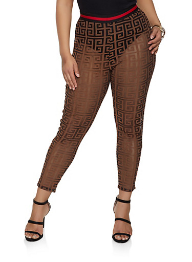 Plus Size Shadow Print Mesh Pants,MOCHA,large