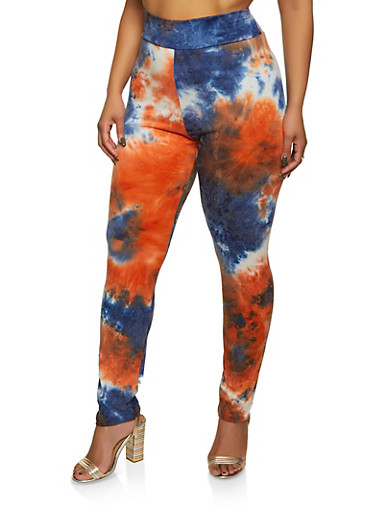 Plus Size Tie Dye Leggings | 1850062121353,NAVY,large
