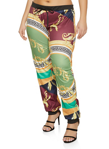 Plus Size Contrast Trim Printed Joggers,BURGUNDY,large