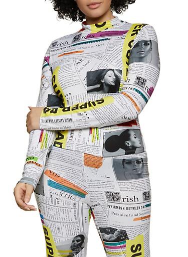 Plus Size Newspaper Print Soft Knit Top,BLACK,large