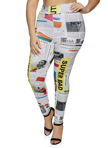 Plus Size Newspaper Print Soft Knit Leggings,BLACK,large