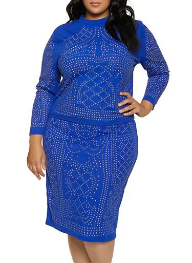 Plus Size Studded Long Sleeve Mock Neck Top,RYL BLUE,large