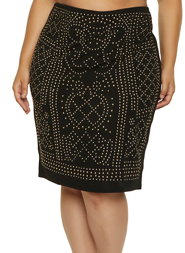 Plus Size Studded Pencil Skirt,BLACK,large
