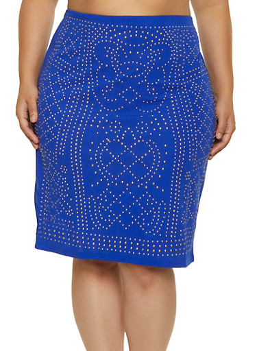 Plus Size Studded Pencil Skirt,RYL BLUE,large