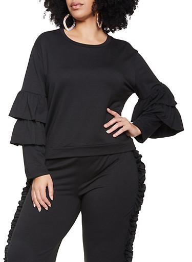 Plus Size Tiered Sleeve Sweatshirt,BLACK,large